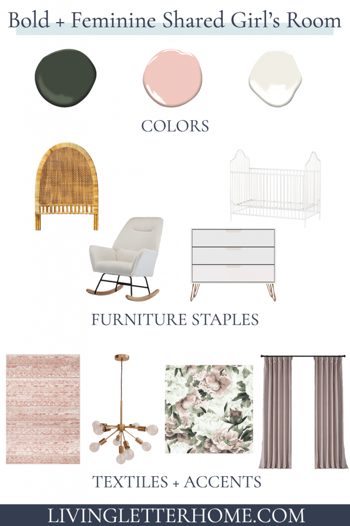 bold and feminine shared girls' room elements graphic