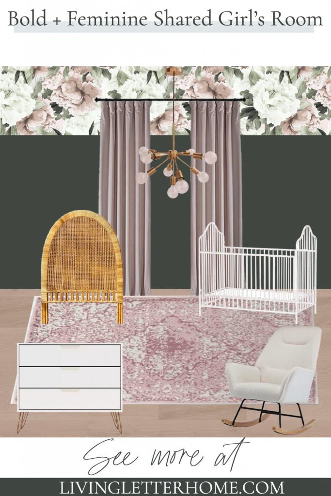 bold and feminine share girls' room and nursery pin