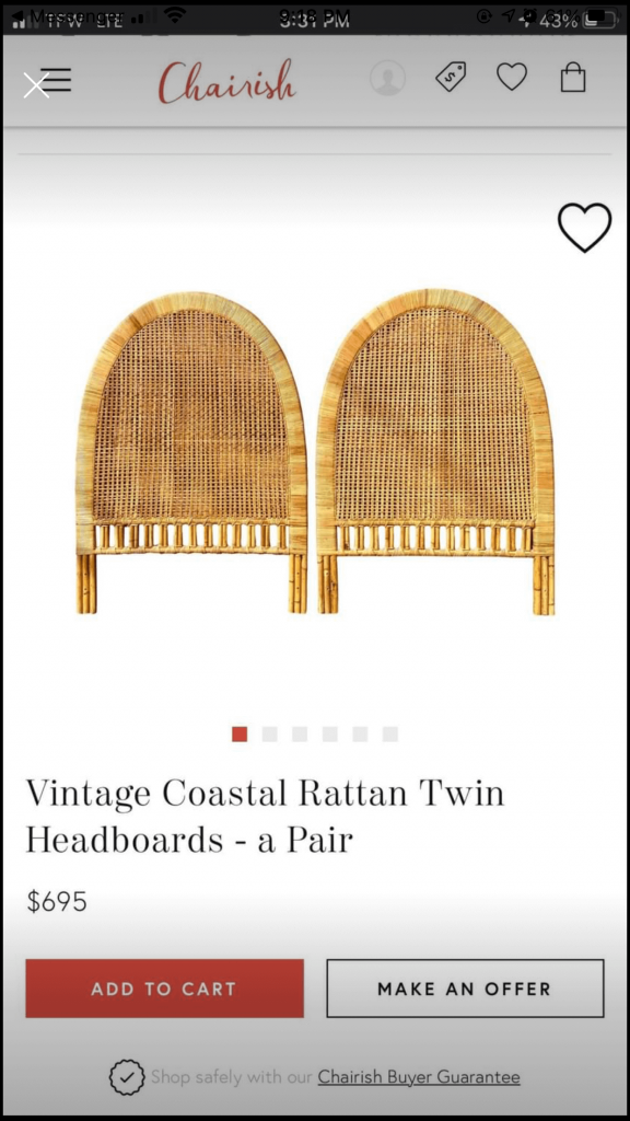 vintage rattan twin headboards