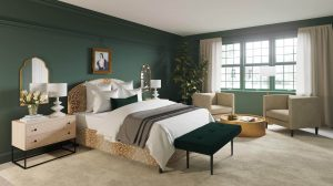 Dark green accent wall in bedroom Current Mood Clare