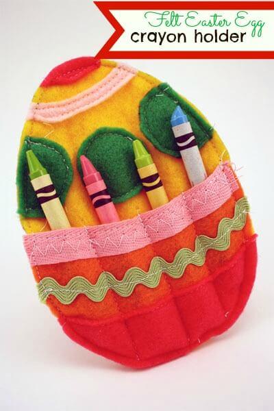 felt egg shaped crayon holder
