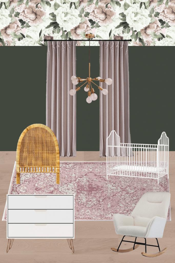 Modern and feminine shared girls room and nursery