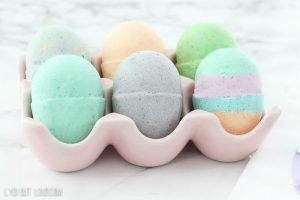 easter egg bath bombs in ceramic egg crate