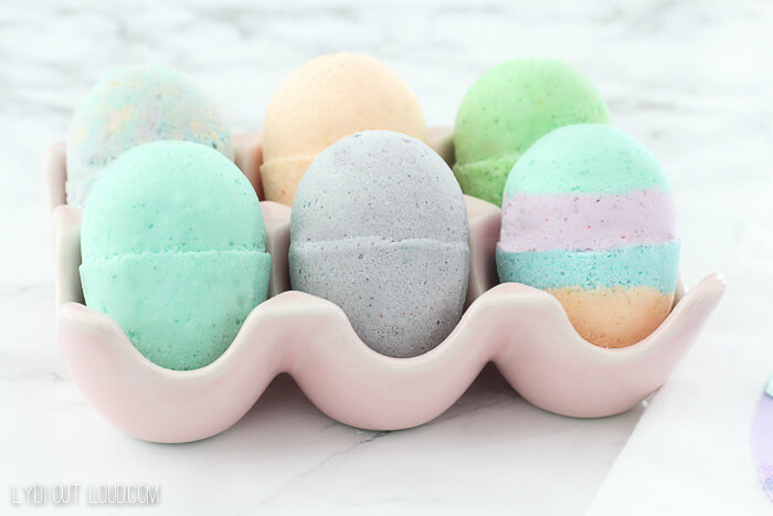 easter egg bath bombs in ceramic egg crate