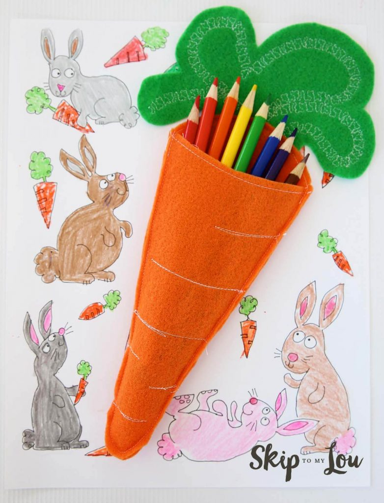 felt carrot with colored pencils in it