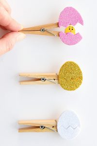 paper easter eggs on clothespins