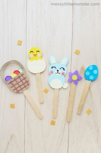 popsicle stick Easter themed puppets