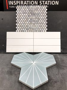 penny tile with white subway and light blue hex from Floor and Decor