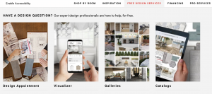 screenshot of Floor and Decor's free design services