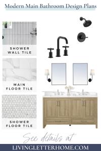 Modern white bathroom design plan mood board