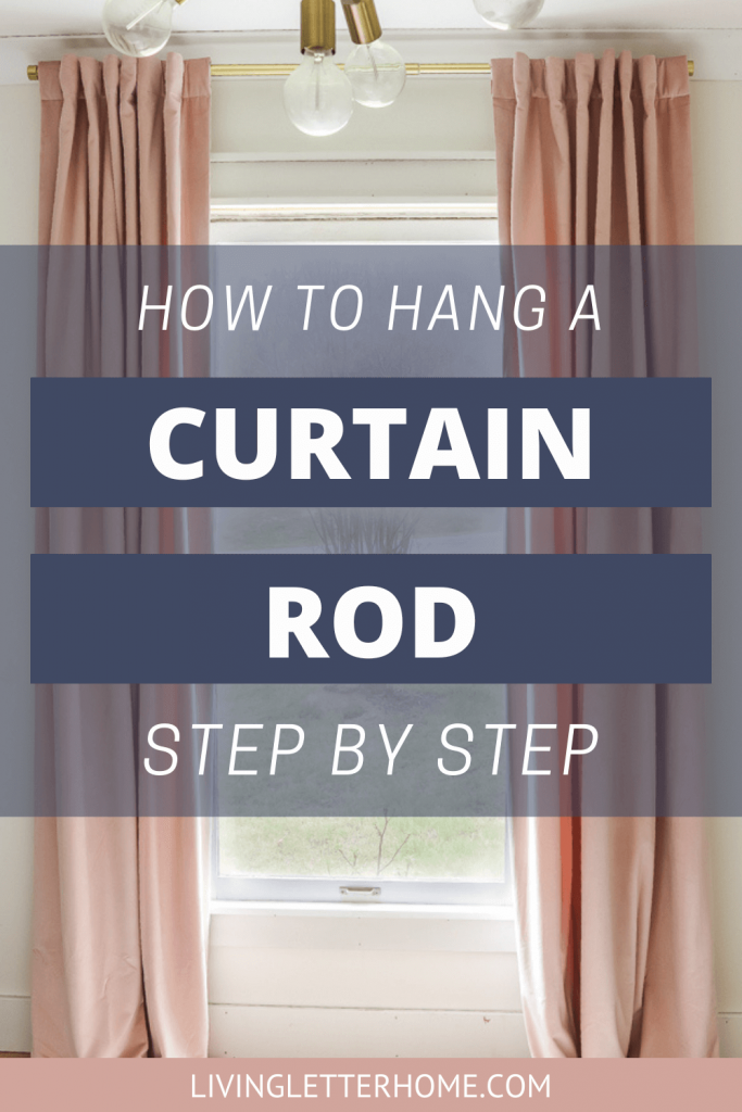 How to hang a curtain rod step by step graphic