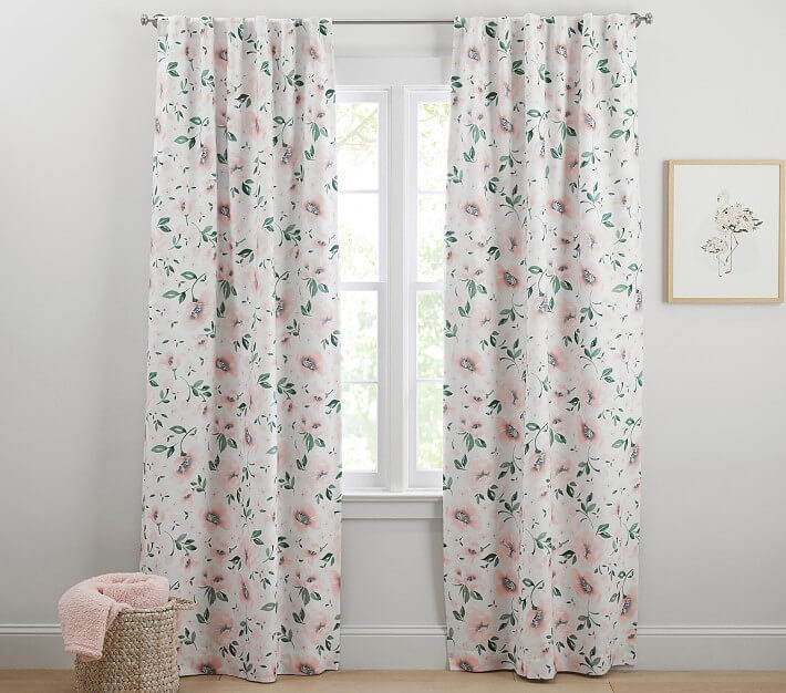 white floral blackout tailored curtains