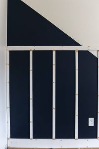 board and batten feature wall with wood filler