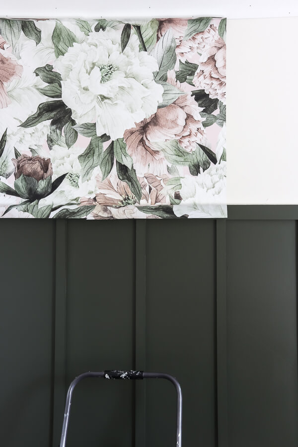 Rocky Mountain Decals floral wallpaper on top of wall with Behr Black Bamboo board and batten accent feature wall