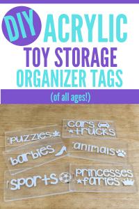 DIY acrylic toy storage organizer tags graphic