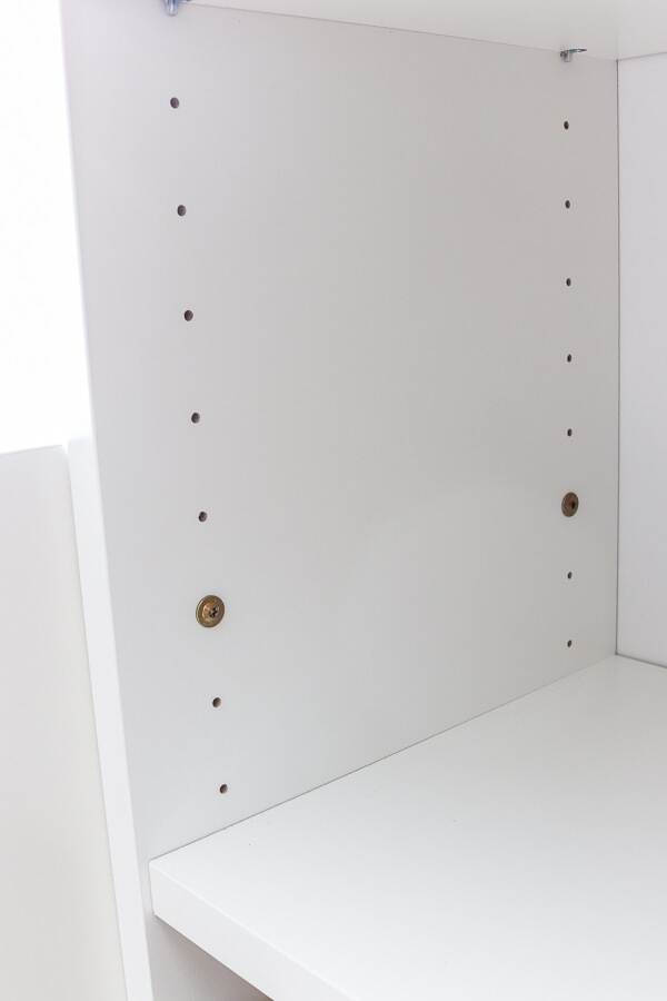 white Ikea billy bookcases with screws