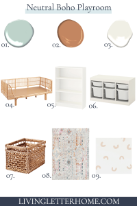 Neutral boho playroom design elements with numbers