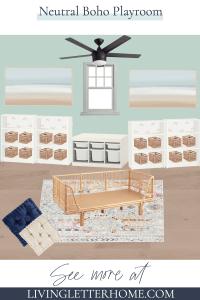 Neutral Boho Playroom design plans mood board