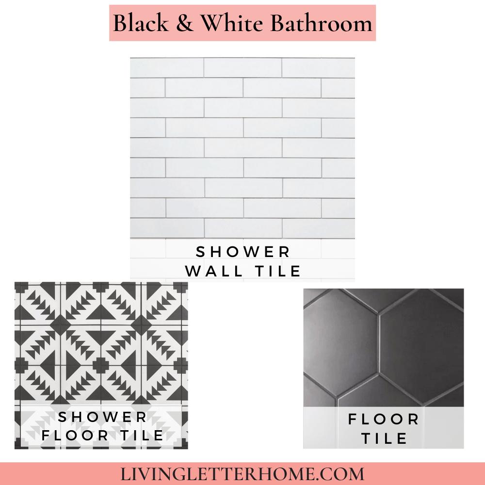 Floor and Decor Black and white Bathroom Mood Board