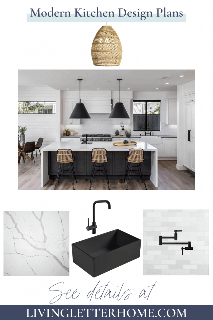 black kitchen island with white marble countertop and wood barstools