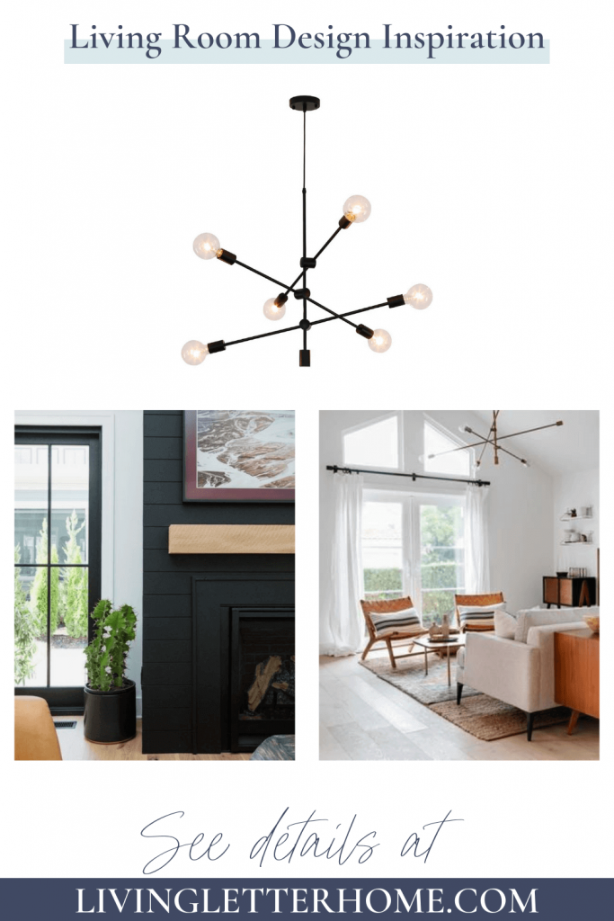 living room with white walls and black shiplap fireplace and black sputnik light fixture