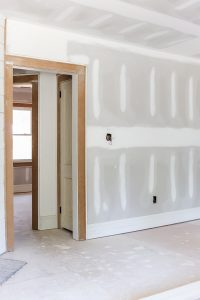 unpainted drywall in investment property flip house