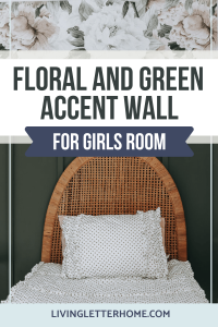 Floral and green accent wall for girls room graphic