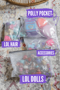 zipper bags with small LOL doll toys in them with labels showing what's in each bag
