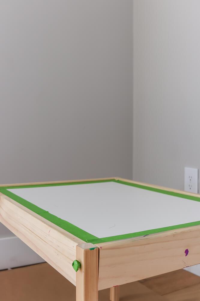 Ikea Latt table with green Frog tape