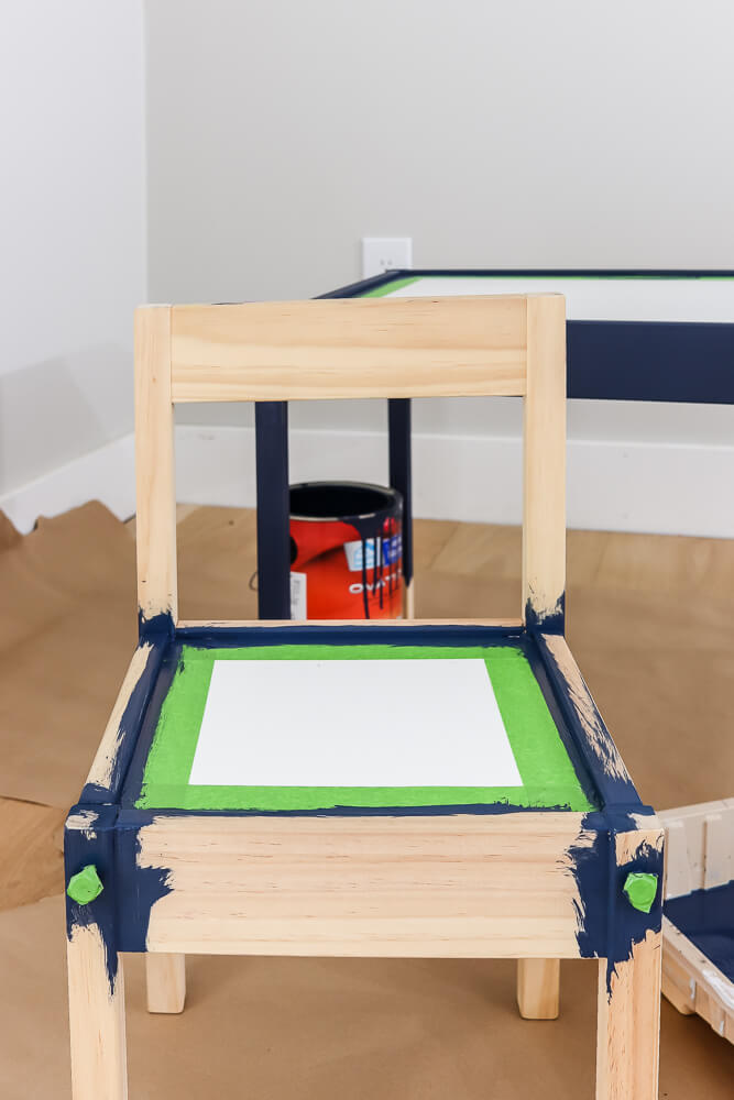 Ikea Latt table chair with frog tape and painted Sherwin Williams Naval