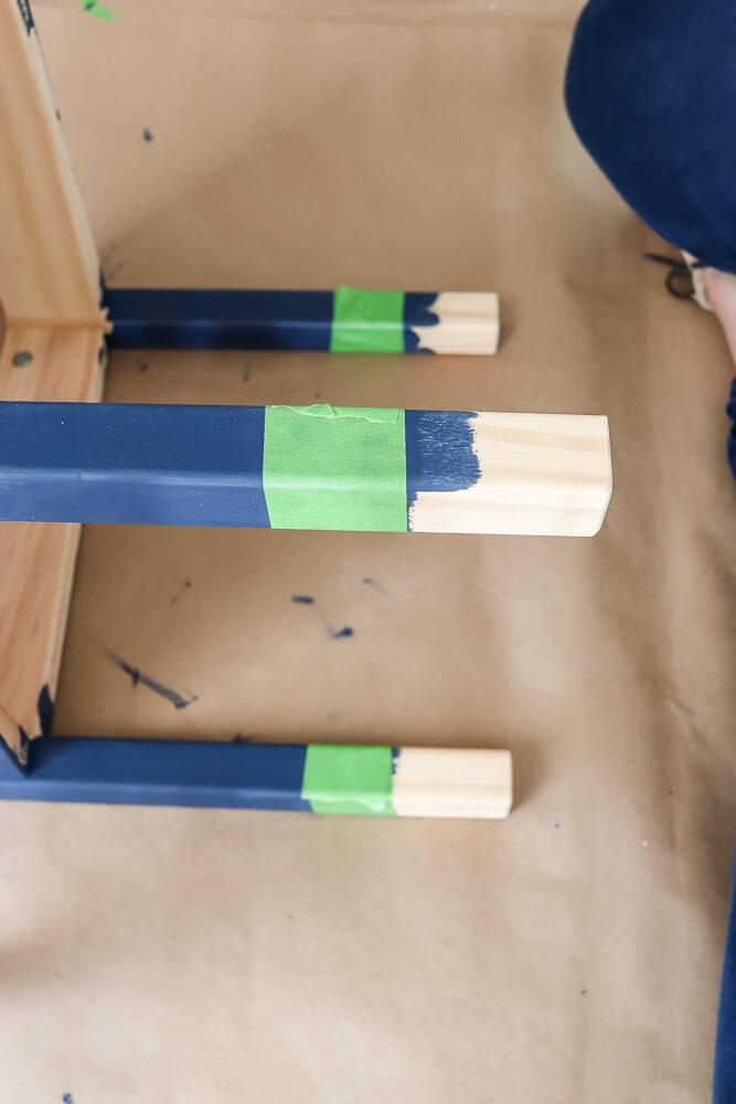 Ikea Latt table legs painted navy with green Frog tape