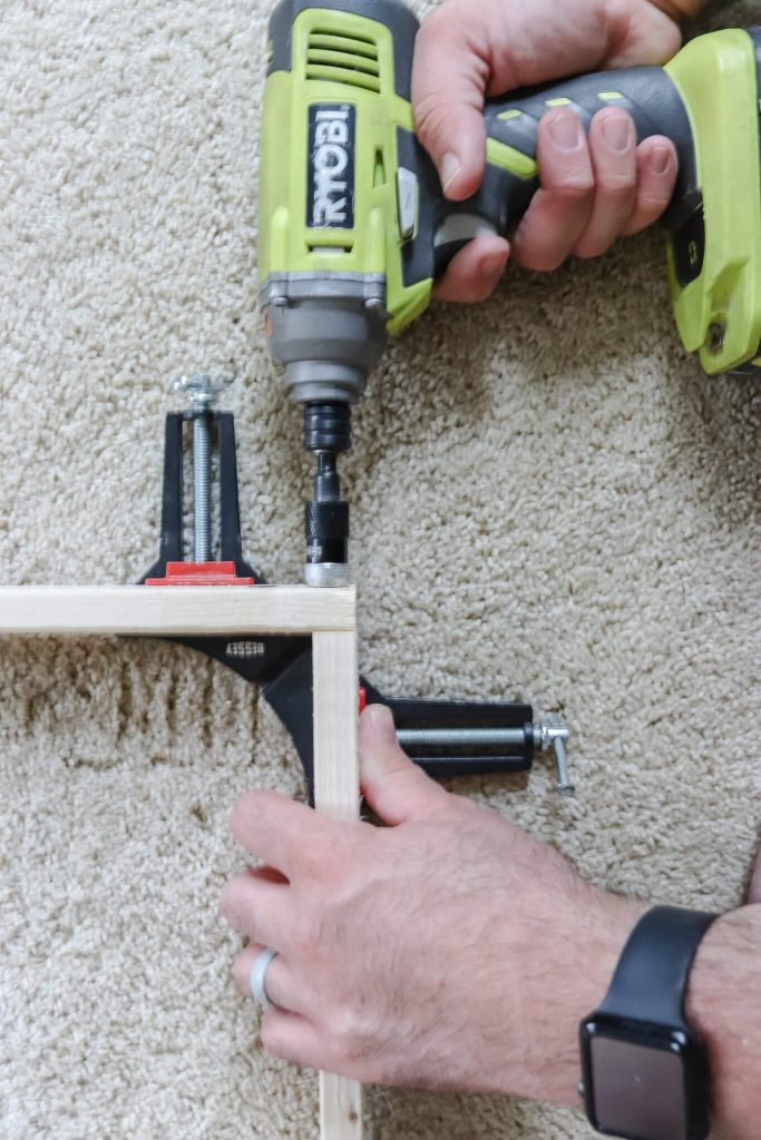 Ryobi drill screwing 2 pieces of 1x3 together