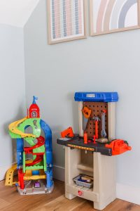 Little People car racetrack and plastic workbench