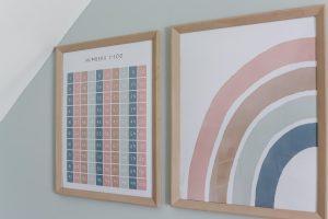 closeup of half rainbow and numbers 1-100 art