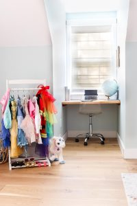 dress up clothes and desk in dormer