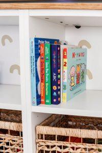 closeup of board books