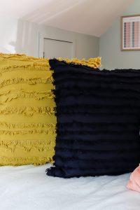 navy and mustard pillows