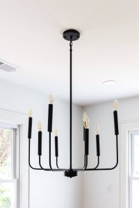 black modern slim chandelier
