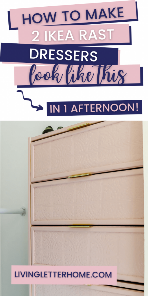 How to make 2 Ikea Rast dressers look like this in an afternoon pin graphic