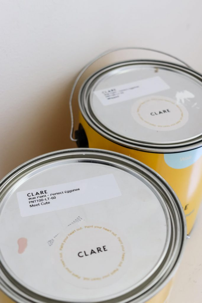 Clare paint cans Meet Cute and Whipped