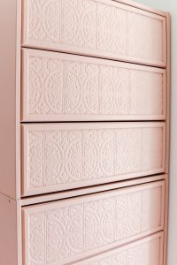 Ikea rast dresser painted in Meet Cute from Clare Paint with paintable wallpaper