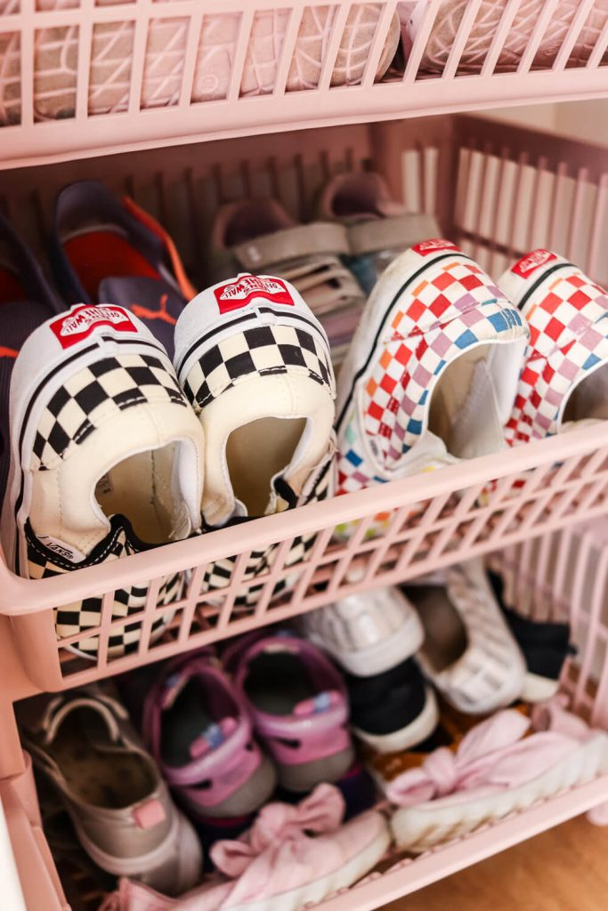 girls Vans in a pink basket from Container Store