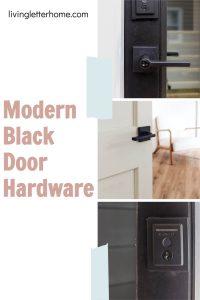 Kwikset Halifax modern black door hardware Pintrest graphic