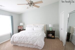 Sherwin Williams in a bedroom with white bed linens from Two Twenty One