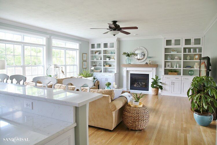 Living room with white built ins and Sherwin Williams