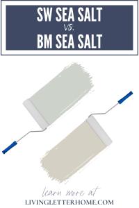 Sherwin Williams Sea Salt vs. Benjamin Moore Sea Salt graphic