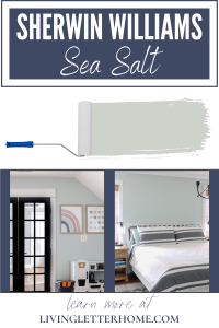 Sherwin Williams Sea Salt graphic with 2 rooms that showcase the color