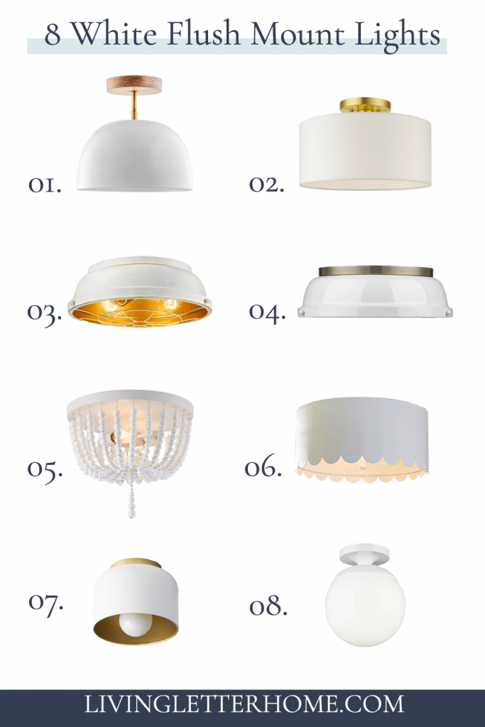 8 white flush mount lights graphic with numbers