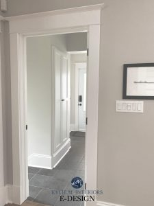 Benjamin Moore Simply White trim with greige walls