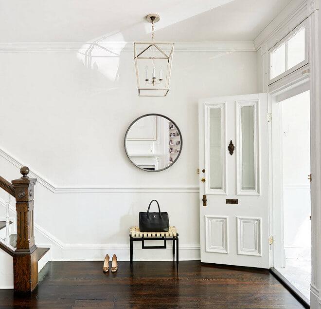 Benjamin Moore super white trim and walls with super dark floors